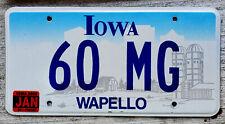 "2000 Iowa VANITY License Plate ""60 MG"" 1960 Morris Garages UK Sports Car"