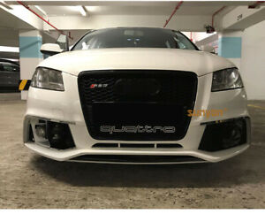 A3 8P Full Black Front Mesh Grille Grill for Audi A3 S3 Sline 2009-2012 To RS3