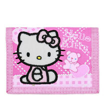 Hello Kitty Quilt Trifold Wallet, New for Kids Girls Sanrio Pink
