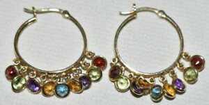 Estate Hoop Earrings Multi Color Stones  14K Yellow Gold