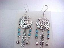 Turquoise Feather Earrings Native American Dangle Crafted By TC119 Sterling 925