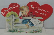"1950's ""Be My Valentine - Don't Keep Me On the Fence"" 3.5"" x 2.5"""