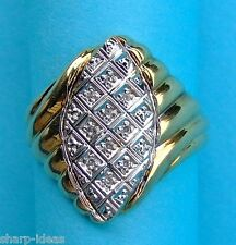 Marquise Style Diamond Cluster Ring Has 10 Round Dia. - 14K Yellow & White Gold