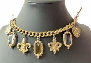 Large Chunky Jeweled Charm Bracelet Fleur de Lis Clasp Vintage Jewelry