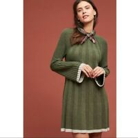 NEW By Anthropologie Size Small S Arsenau Moss Green Wool Blend Sweater Dress