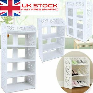 3/4/5/6 Tiers Shoe Rack Storage Shelf Display Stand Organiser Unit Cabinet White