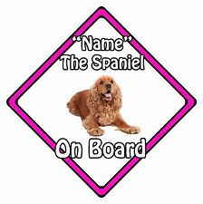 Personalised Dog On Board Car Safety Sign - Cocker Spaniel On Board Pink
