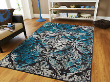 Blue Area Rug Modern Contemporary Abstract Carpet