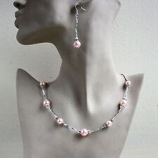 Vintage pearls crystal collar necklace bracelet earrings wedding silver set pink