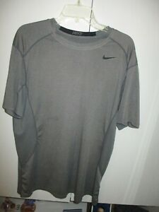 NIKE PRO COMBAT DRI-FIT  FITTED GRAY SHORT SLEEVE SHIRT SIZE XL