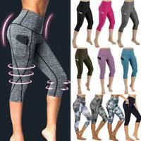 Women's Capri Yoga Pants Leggings With Pockets High Waist GYM Fitness Trousers
