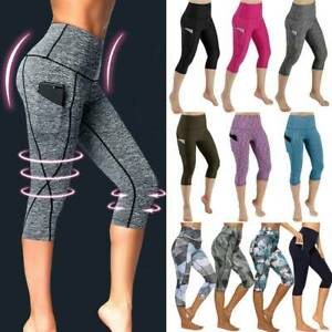 Womens Capri Yoga Pants Cropped Leggings High Waist Fitness Gym Workout Trousers