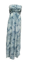 Ladies Resort Flower Gray Summer Beach Knotted Smocked Maxi Long Dress-one size