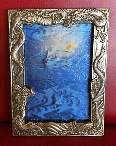 1930s Japanese Silver High Relief Dragon Art Nouveau Picture Frame w Blue Silk