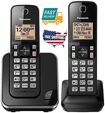2 Home Office Headset Expandable Cordless Phone Amber Backlit Display Fit Black
