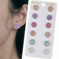 6 Pairs Stainless Steel Shiny Austrian Crystal Round Stud Earrings Jewelry Set