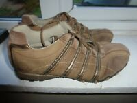 SKECHERS UK 5 EU 38 BROWN LEATHER/SUEDE LACE UP TRAINERS