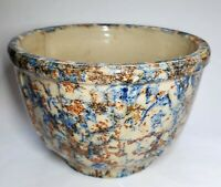 Antique Vintage Spongeware Paneled Bowl Blue & Brown 6 Inch