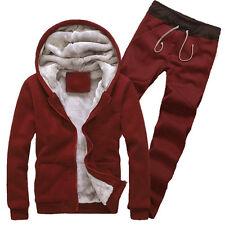 Winter Mens Fleece Flurry Tracksuit Set Sports Thicken Hoodies Coat Top Trousers