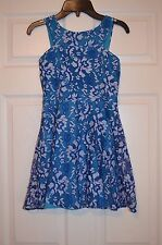 Sally Miller Couture Girls L Large Blue Lace Trim Dress - EUC