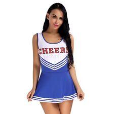 Womens Cheerleader Uniform High School Girls Costume Full Outfits Fancy Dress M