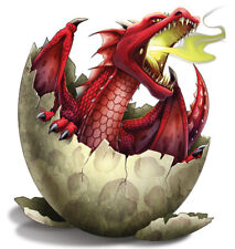 """""""Dragon"""" Temporary Tattoo, Red Dragon Hatchling Hatching from Egg Shell USA Made"""