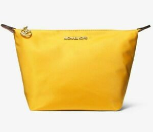Michael Kors Travel Medium Pouch Citrus Yellow Cosmetic 35T0GTFF2C $98 Retail FS