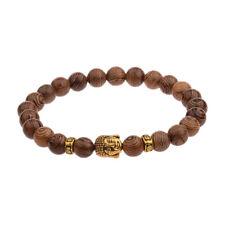 Wooden Beaded Bracelet Men Women Ladies Yoga Meditation Golden Buddha Head UK