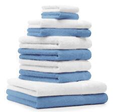 """10-Pcs. Juego toallas """"Premium"""", de color azul claro (agua) y blanco ,2 toallas"""