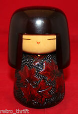 Japanese Creative Sosaku Wooden Kokeshi Doll Maple Leaves Signed 13cm 5 1/8""