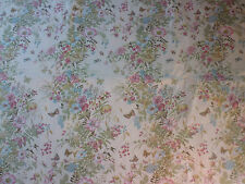 tissu textile coupon ameublement CROWSON imprimé beige papillon fleurs 100x122cm