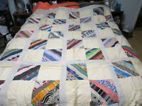 "String Top Quilt Top 70"" x 80"" - Made in the 1950's"