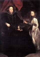 Oil painting Anthony van dyck - portrait of porzia imperiale and her daughter @@