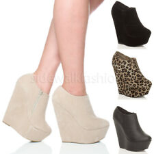 Womens ladies high heel wedge platform zip party ankle shoes boots booties size
