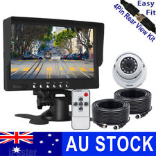 """7"""" LCD Monitor 4pin IR Backup CCD Camera 66ft Trailer Cable for Truck Bus RV"""