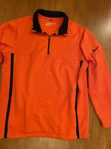 NIKE GOLF Performance Orange Black Therma-Fit Womens 1/4 Zip Pullover Size XL
