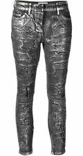 $1250 Faith Connexion Metallic Silver Destroy Denim Distressed Skinny Jeans - 27