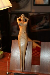 """Vintage Wooden Carved Nude Lady Nutcracker Approx. 14"""" Fort Myers Beach Florida"""