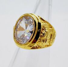 MEN RING WHITE SAPPHIRE TOPAZ SYN 24K YELLOW GOLD FILLED GP GEMS DRAGON SZ 9.5