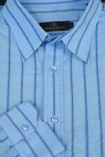Bugatchi Uomo Homme Bleu Clair Coton Rayé Chemise Décontractée L Large
