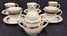 Yamasho Kakamu 12PC Tea Set Covered Sugar Bowl Lusterware Iridescent Gilded VTG