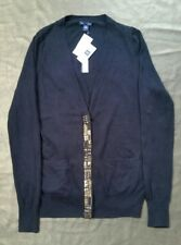 New With Tags Gap Ladies Cashmere Cardigan black with bead detail -Size Medium