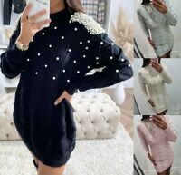 Women's Ladies Chunky Cable Knitted Pearls Long Bodycon Jumper Sweater Dress Top