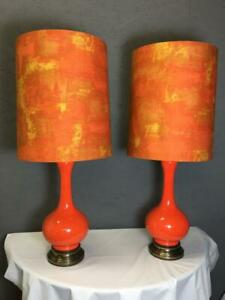 Vtg Mid Century Modern Large Table Lamp Pair Orange Ceramic Speckle Retro Atomic