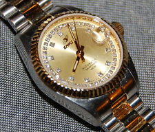 Enicar Rare Swiss Two-Tone Gold Automatic Women's Diamond Saphire Date Watch