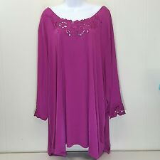 Roamans 5X Shirt Top Blouse Pink Fuchsia Embroidered Stretch Plus Size