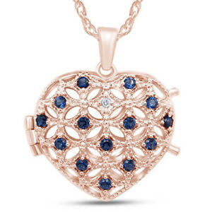 """Blue Sapphire And Diamond Accent  Heart Locket 14K Rose Gold Over Sterling 18"""""""