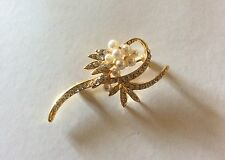 Vintage Rhinestones Crystal Wedding Bridal FLOWERS Bouquet Brooch Pin GOLD WOMEN