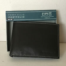 PERRY ELLIS PORTFOLIO CONTRAST STITCH PREMIUM LEATHER PASSCASE BILLFOLD WALLET
