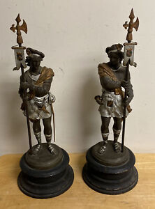 ANTIQUE PAIR OF BRONZE SPELTER ARMORED SOLDIERS STATUES SCULPTURES